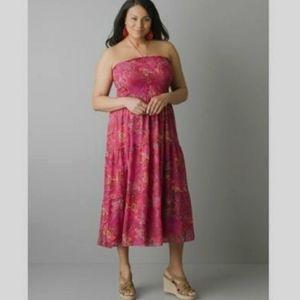 LANE BRYANT Paisley Smocked Strapless Midi Dress